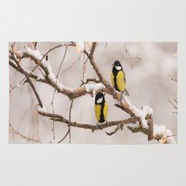 Lovely Songbirds on a Snowy Branch #decor #buyart #society6 Rug