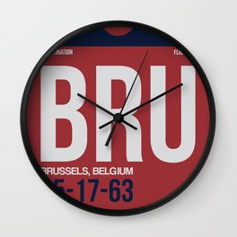 BRU Brussels Luggage Tag 2 Wall Clock