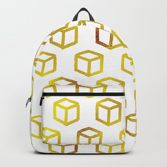 Geometric gold pattern Backpack
