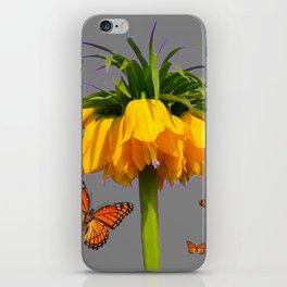 ORANGE MONARCH BUTTERFLIES CROWN IMPERIAL FLOWER iPhone Skin