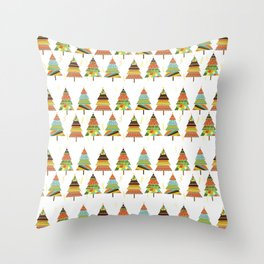 Abstract pine tree forest seamless pattern background Throw Pillow