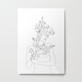 Minimal Line Art Woman with Wild Roses Metal Print