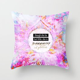 Watercolor Pastel Boho Dynamite and Glitter Throw Pillow