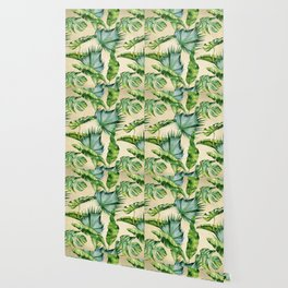 Green Tropics Leaves on Linen Wallpaper