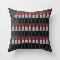 lipstick Throw Pillows featuring Lipstick by Headline Honey