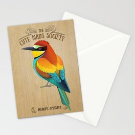 Merops apiaster on wood Stationery Cards