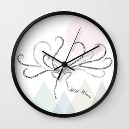 Abstrac Typographic Reindeer in The Mountains Wall Clock
