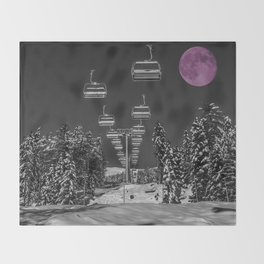 Chairlift to the Fuchsia Moon Throw Blanket