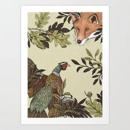 Fox & Pheasant Art Print