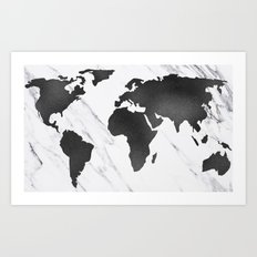 Marble World Map Black and White Art Print