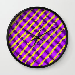 line pattern painting abstract background in purple and yellow Wall Clock