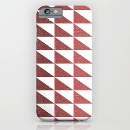 Retro Triangular Geometric Pattern 11 - White, Pink, Maroon, Dark Red iPhone Case