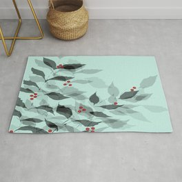 Leaves with Christmas Berries Rug