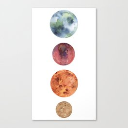 Watercolor planets: Mercury, Mars, Earth, Venus Canvas Print