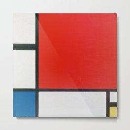 Piet Mondriaan / Mondrian Composition II in Red Blue and Yellow Metal Print