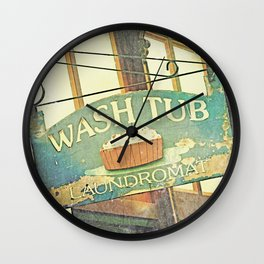 Vintage Laundromat Sign // Wash Tub Wall Clock