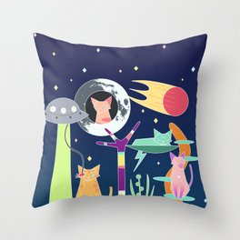 Alien Cat Tower Throw Pillow
