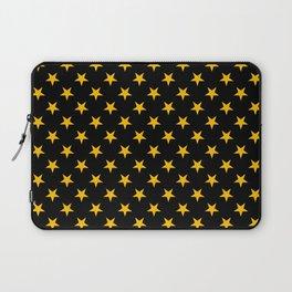 Amber Orange on Black Stars Laptop Sleeve