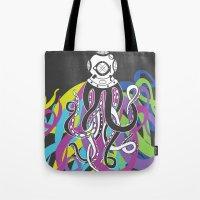 scuba Tote Bags featuring Scuba Squid by Joanna Jayakaran