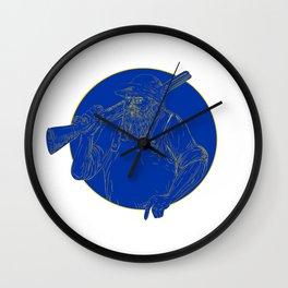 Bearded Hunter Holding Rifle Circle Woodcut Wall Clock