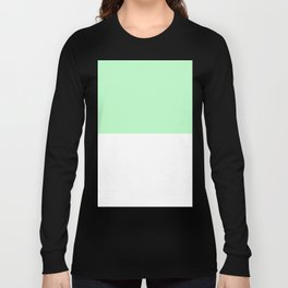 White and Light Green Horizontal Halves Long Sleeve T-shirt