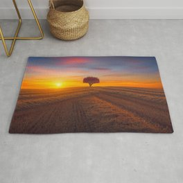 Lonely Little Pink Tree In Cornfield At Magnificent Sunset Ultra HD Rug