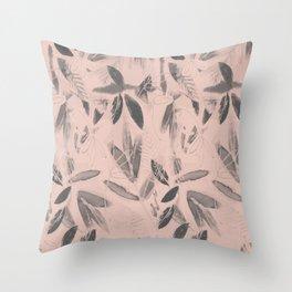 soft leaf pattern Throw Pillow