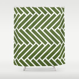Olive green and white herringbone pattern Shower Curtain
