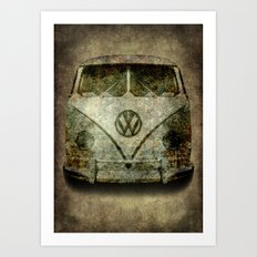 Classic micro bus with battle scars and distressed patina Art Print