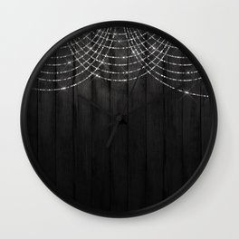 Fairy Lights on Wood 03 Wall Clock