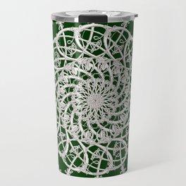 Mandala #104, Deep Green and White Travel Mug