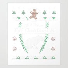 Pet Capybaras Christmas Ugly Shirt Art Print