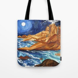 Moon Bathing Babes - Watercolor painting of Earth and Ocean Goddesses Tote Bag