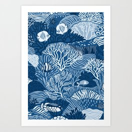 Coral Reef in Classic Blue Art Print