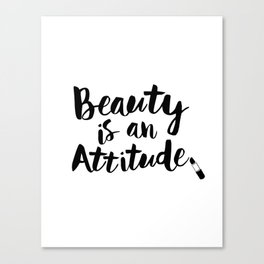 Beauty is An Attitude black and white monochrome typography poster design home decor bedroom wall Canvas Print