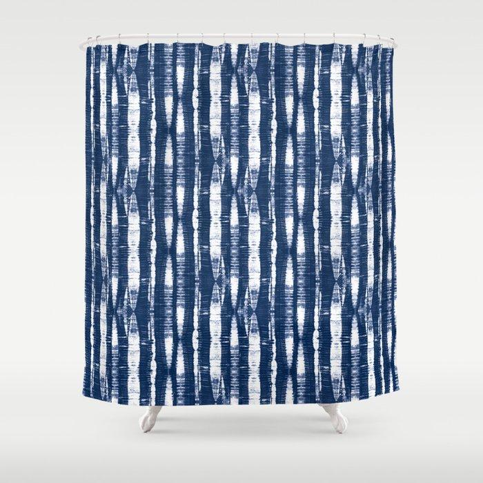 Shibori Stripes Indigo Blue Shower Curtain By Followmeinstead Society6