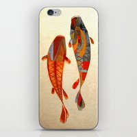 fish iPhone & iPod Skins featuring Kolors Koi by Fernando Vieira