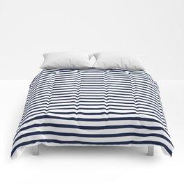 Navy Blue Breton Nautical Stripes Lines Minimal Stripe Line Comforters