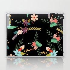 Floral pattern black Laptop & iPad Skin