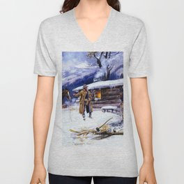 """Christmas Meat"" by Charles M Russell Unisex V-Neck"