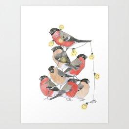 Bird Pile with Lights Art Print