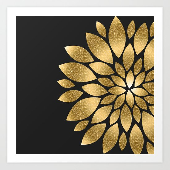 Pretty gold faux glitter abstract flower illustration by inovarts