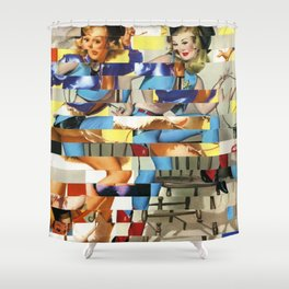 Glitch Pin-Up Redux: Yasmin & Yardley Shower Curtain