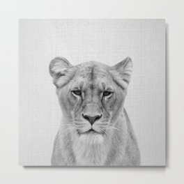 Lioness - Black & White Metal Print