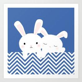 White rabbits Art Print