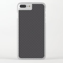 Black & Grey Simulated Carbon Fiber Clear iPhone Case