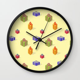 Gift boxes isometry on yellow back Wall Clock