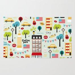 Fun New York City Manhattan travel icons life hipster pattern Rug