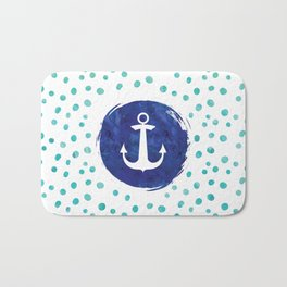 Watercolor Ship's Anchor Bath Mat