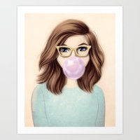 bubblegum Art Prints featuring Bubblegum by kristen keller reeves